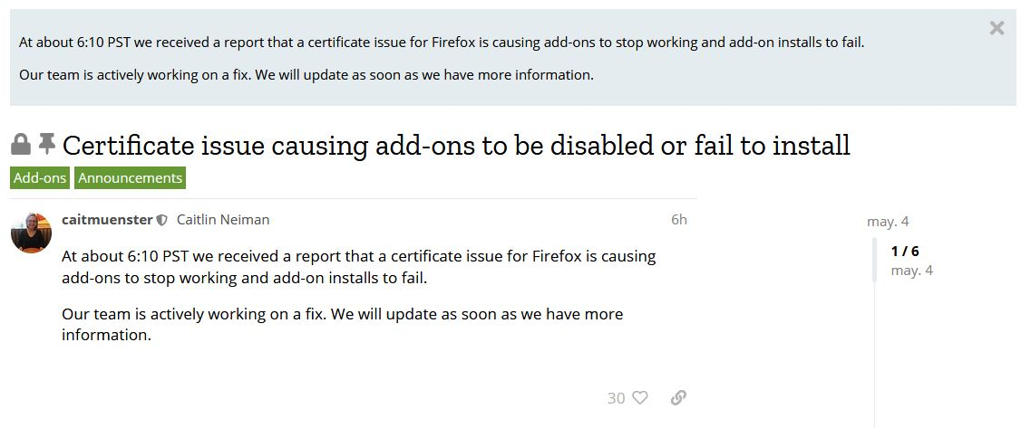 2019-05-04-firefox-certificate-issue-add-ons-are-not-working-and-will-fail-to-install